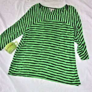 womans xl extra large shirt top striped black tee